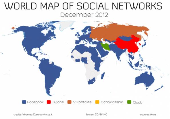 mapa mundial de la dominacion en redes sociales de facebook